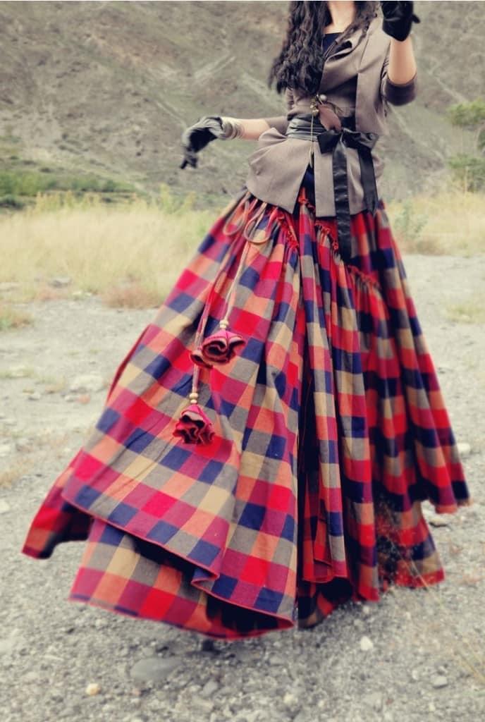 Многоярусная юбка бохо
