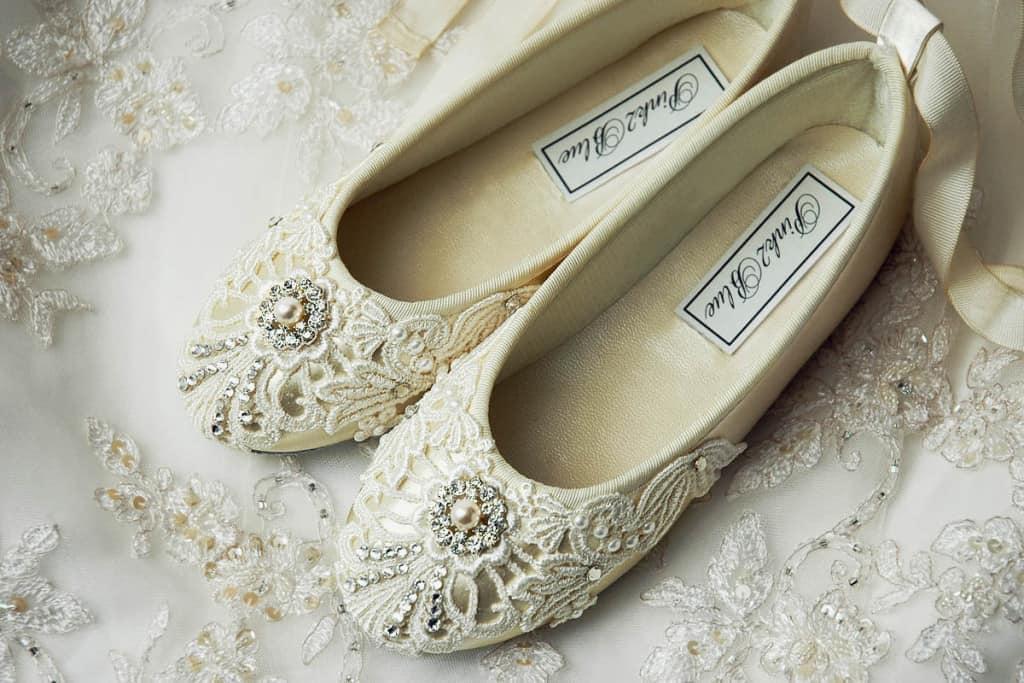 Свадебные кружевные балетки