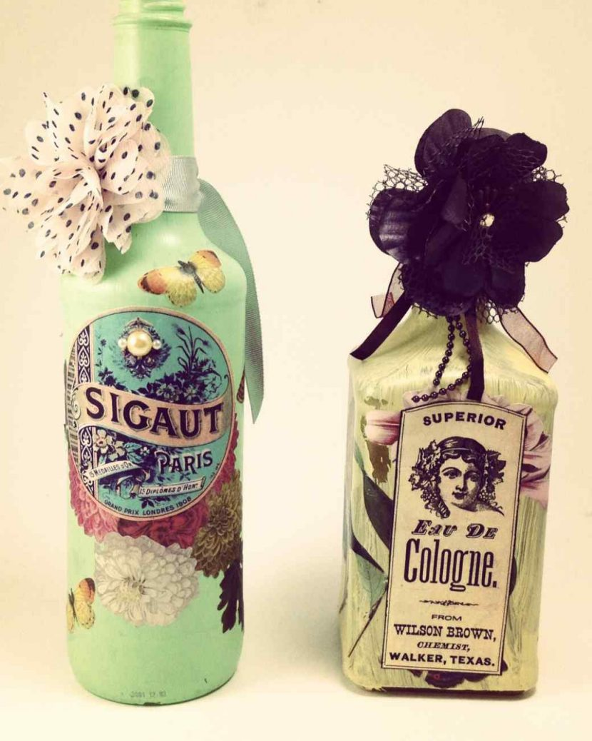 Декупаж на бутылках