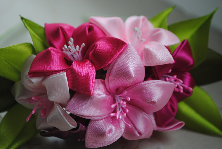 Цветы из лент своими руками канзаши мастер класс фото