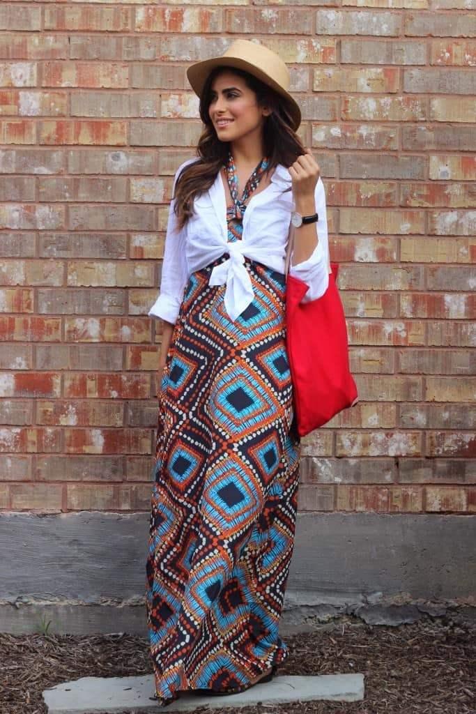 яркое платье и рубашка