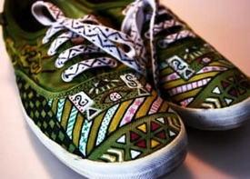 Обувь с декупажем в стиле этно