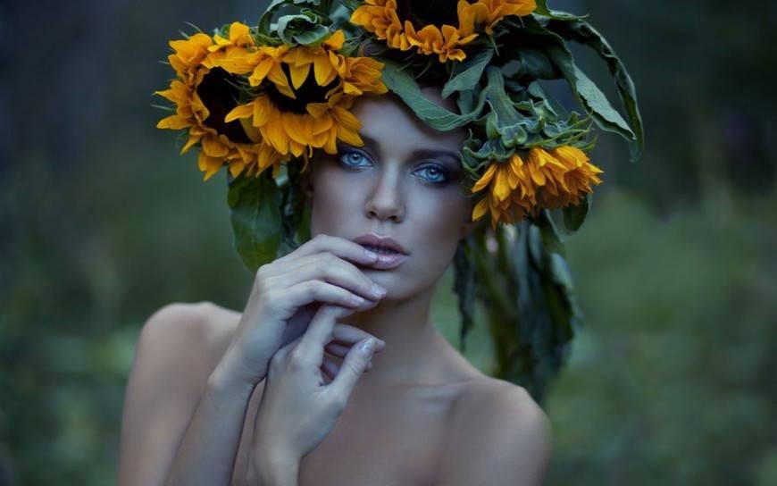 венок из цветов подсолнуха