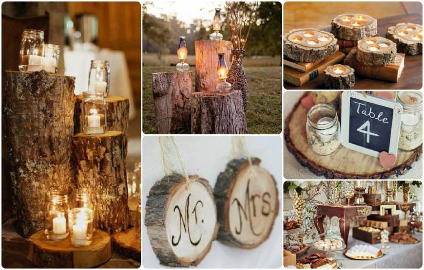 Деревянный декор на свадьбу