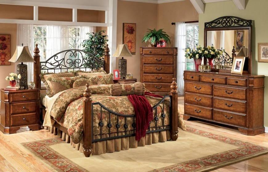 интерьер в стиле кантри-деревянная кровать