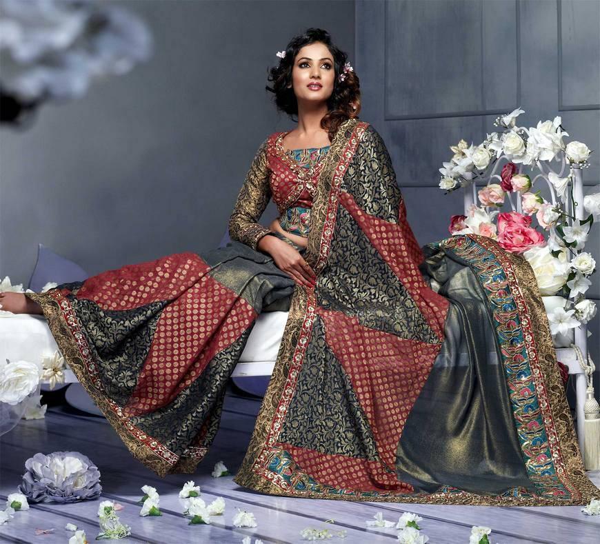 b8a03648700 Яркое индийское сари прекрасно подчеркивает женственность