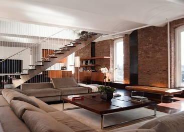 Интерьеры в стиле лофт с лестницей