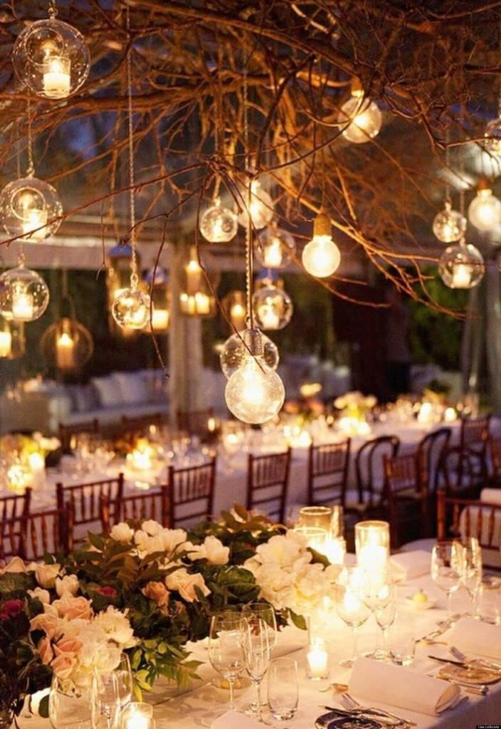 свадьба в стиле рустик-освещение