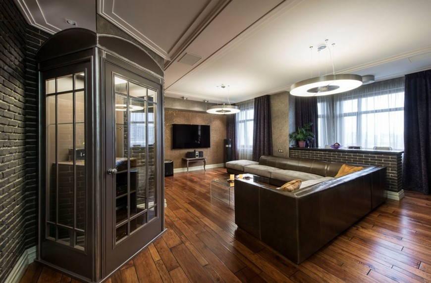 ЗЗонирование квартиры в стиле лофт мебелью