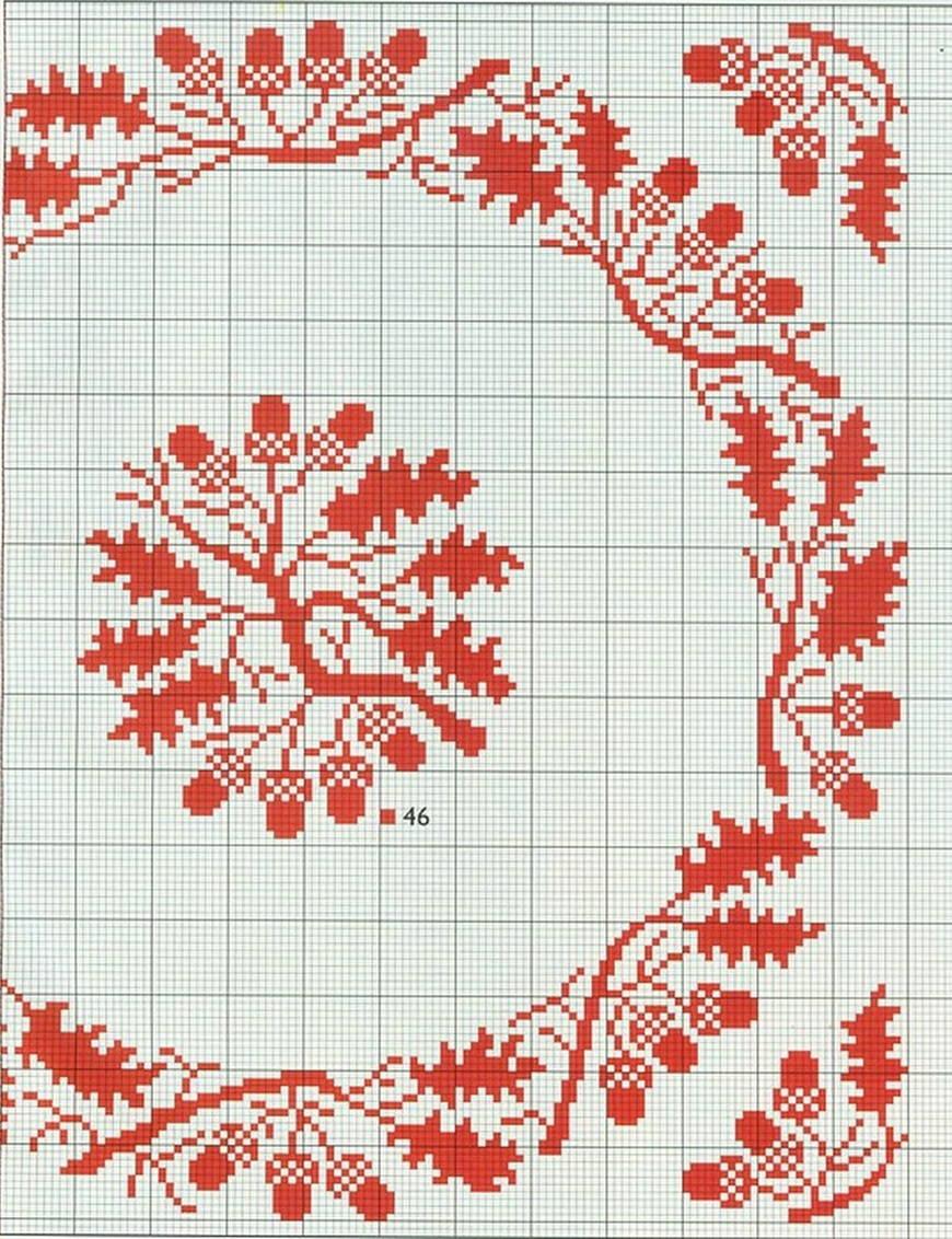 листья вышивка схема