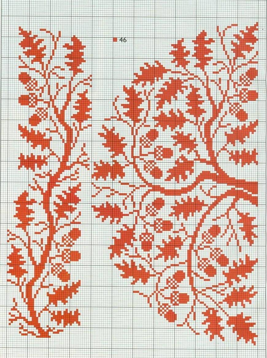 схема вышивания калины