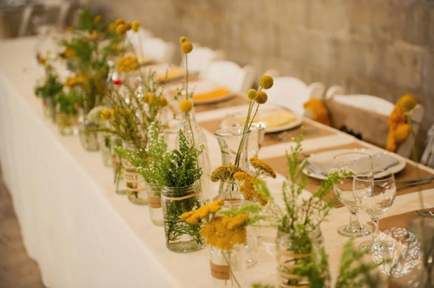 свадьба в стиле рустик -цветы
