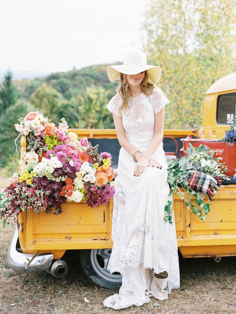 Цветы на свадьбе в стиле бохо