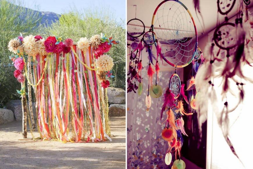 разнообразие красок свадьбы в стиле бохо