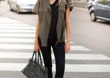 Женский стиль милитари в уличной моде