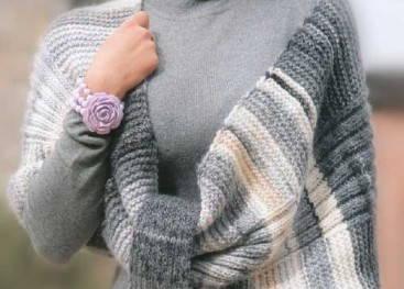 Вязаный пончо-шарф