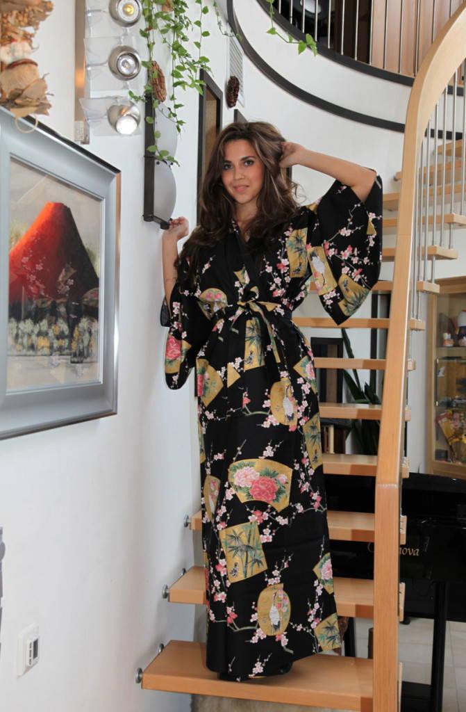 Черный халат-кимоно