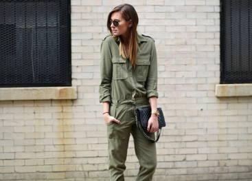 Модный женский образ в стиле милитари