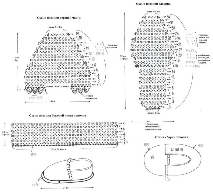 Схема вязания мокасин крючком