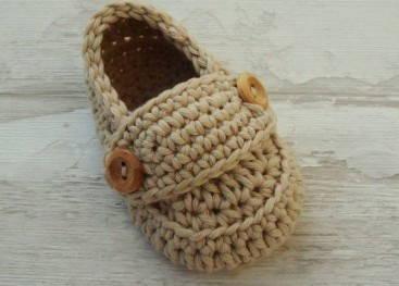Детские пинетки-мокасины вязаные крючком