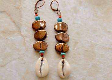 Серьги в стиле бохо ручной работы
