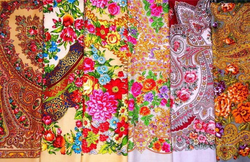 Цветы на павлопосадских платках