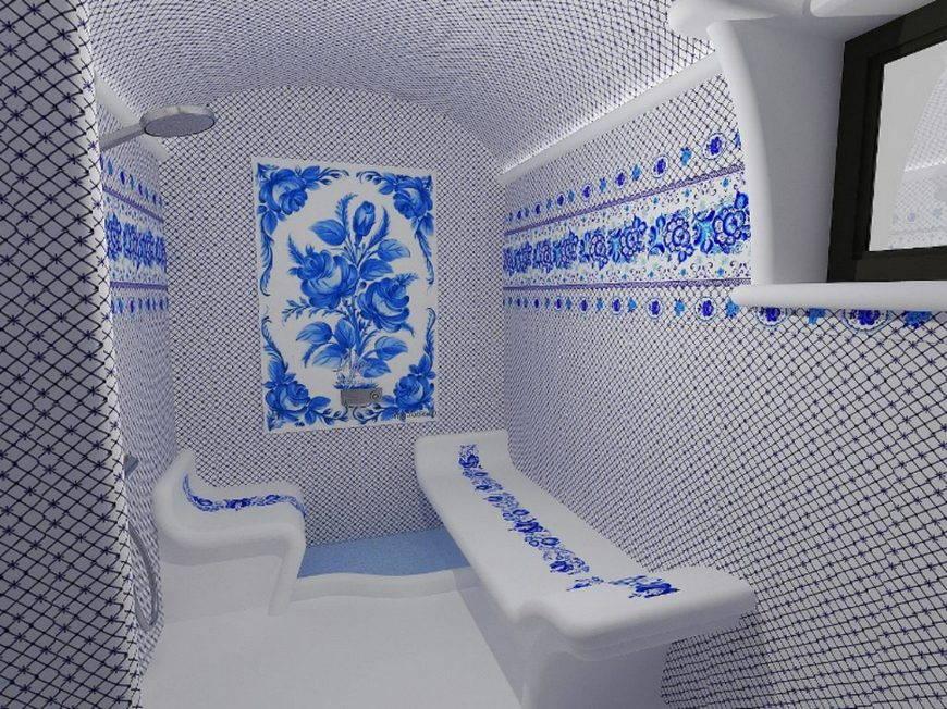 гжель-керамическая плитка в интерьере