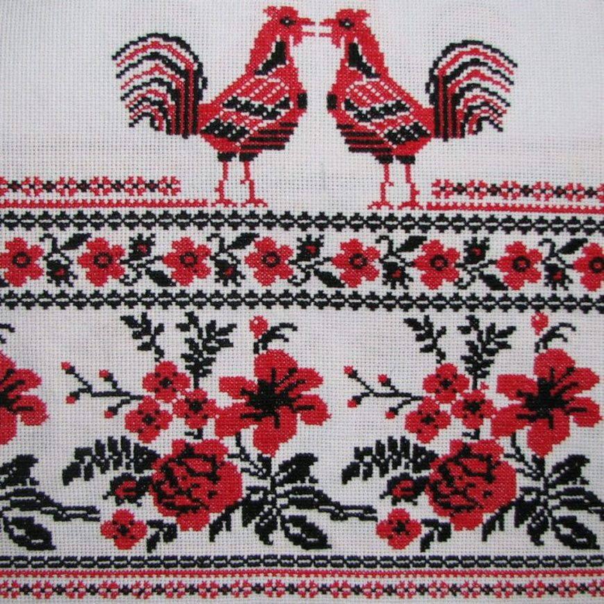 славянская вышивка петух