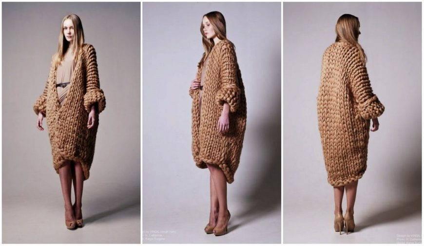 стиль бохо-вязанное пальто