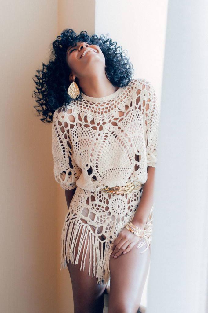 вязаное платье бохо