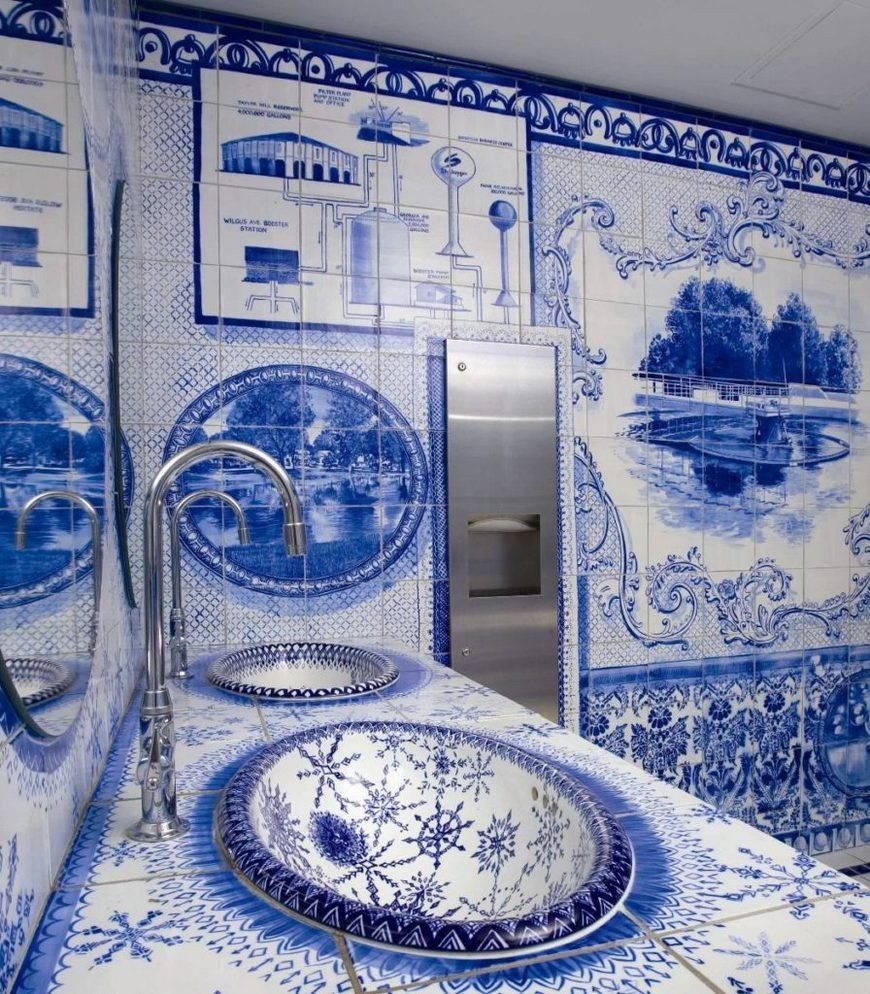 роспись гжель-керамическая плитка
