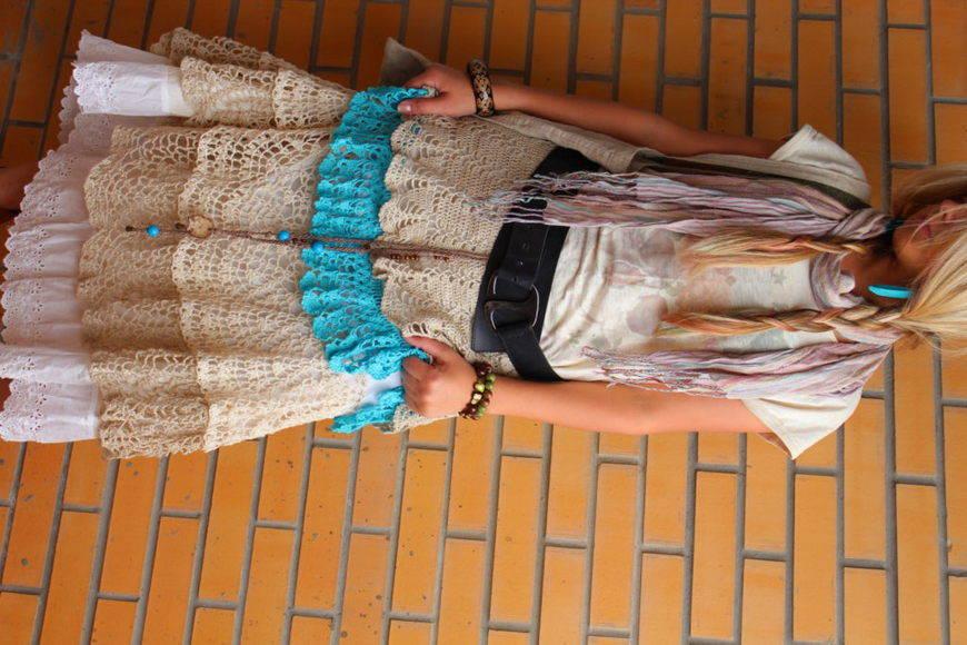 пышная юбка бохо с кружевами