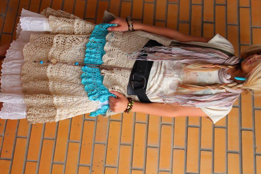 Вязанная пышная юбка
