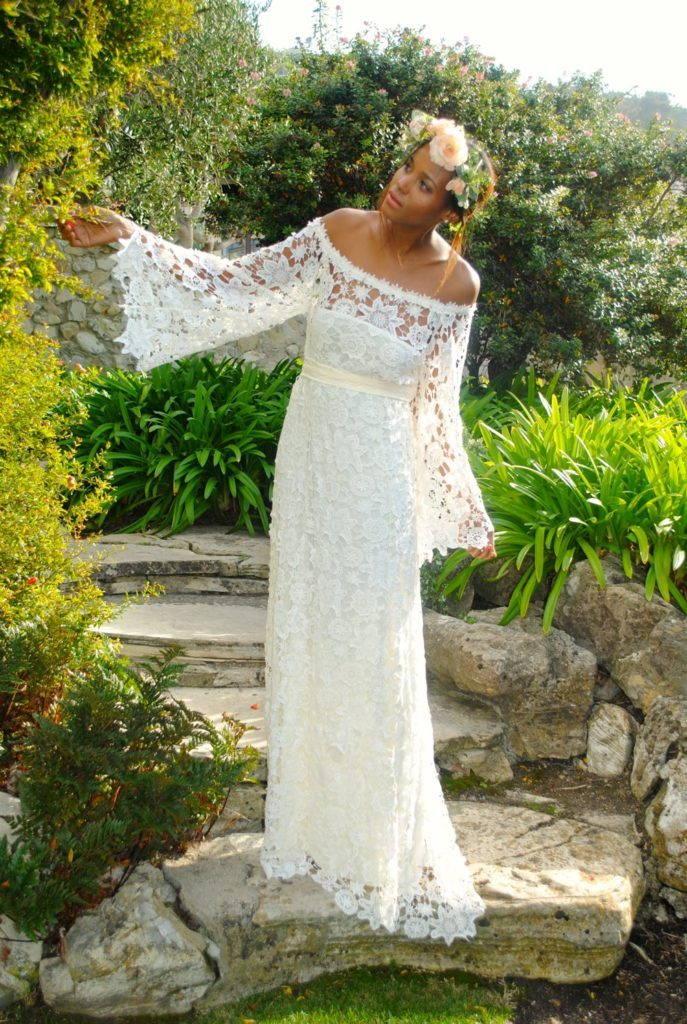 платье бохо свободного покроя с кружевами