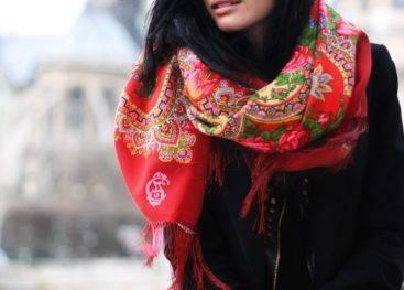 Русский платок в модных луках