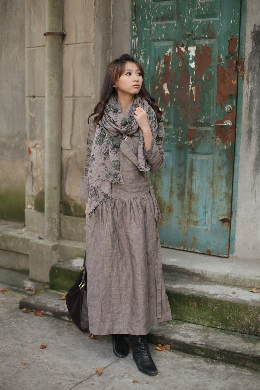 Длинное льняное платье своими руками