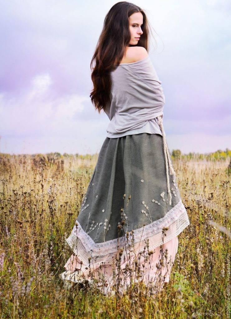 пышная юбка бохо -ткани