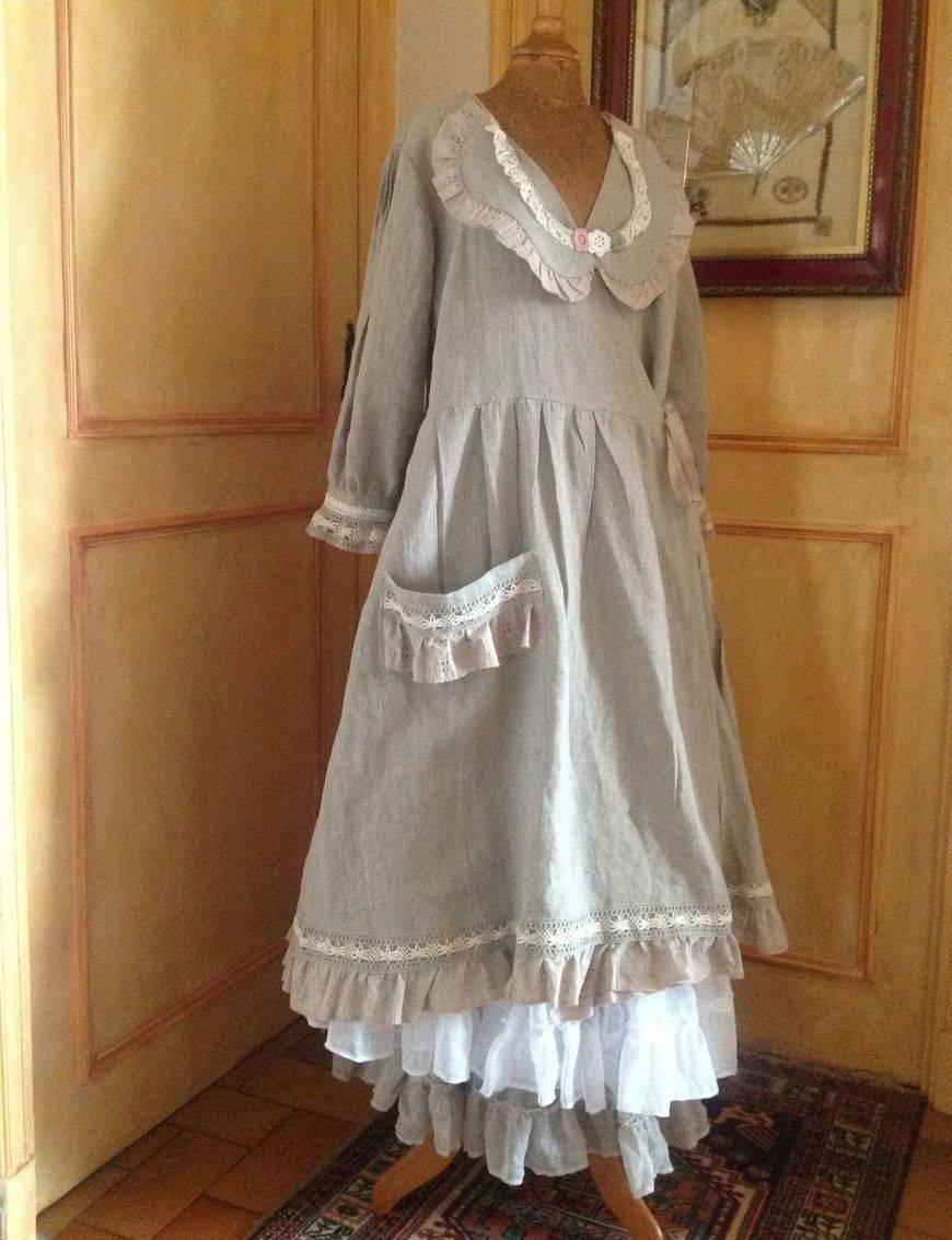Льняное платье в стиле бохо своими руками