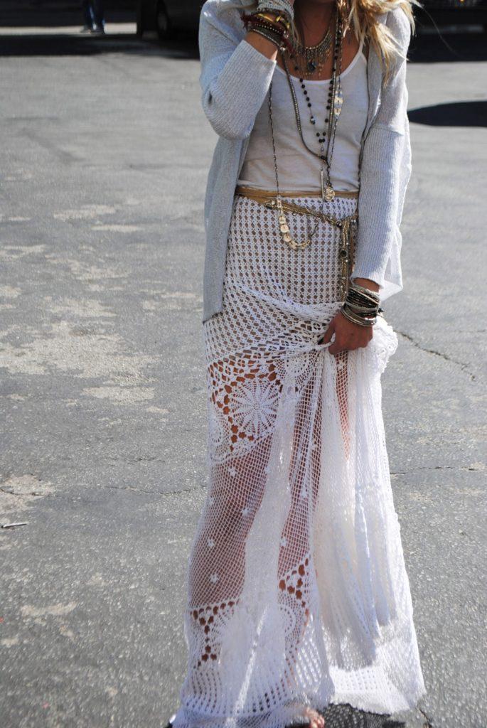 платье бохо кружевные элементы