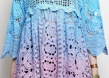 Вязаные платья и туники бохо
