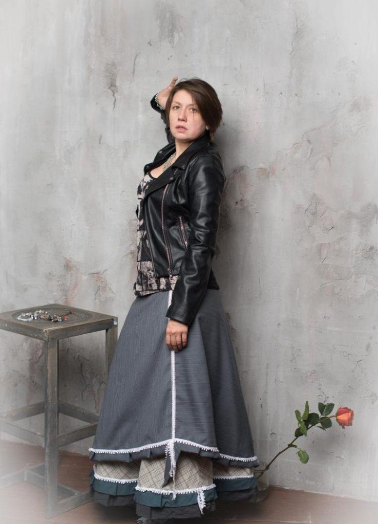 юбка бохо джинсовая