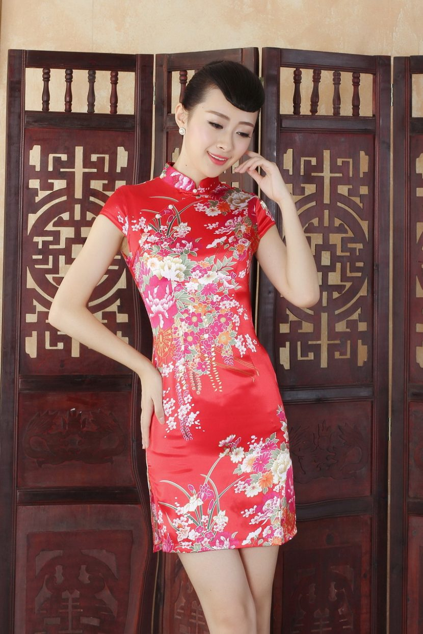 платье в китайском стиле короткое