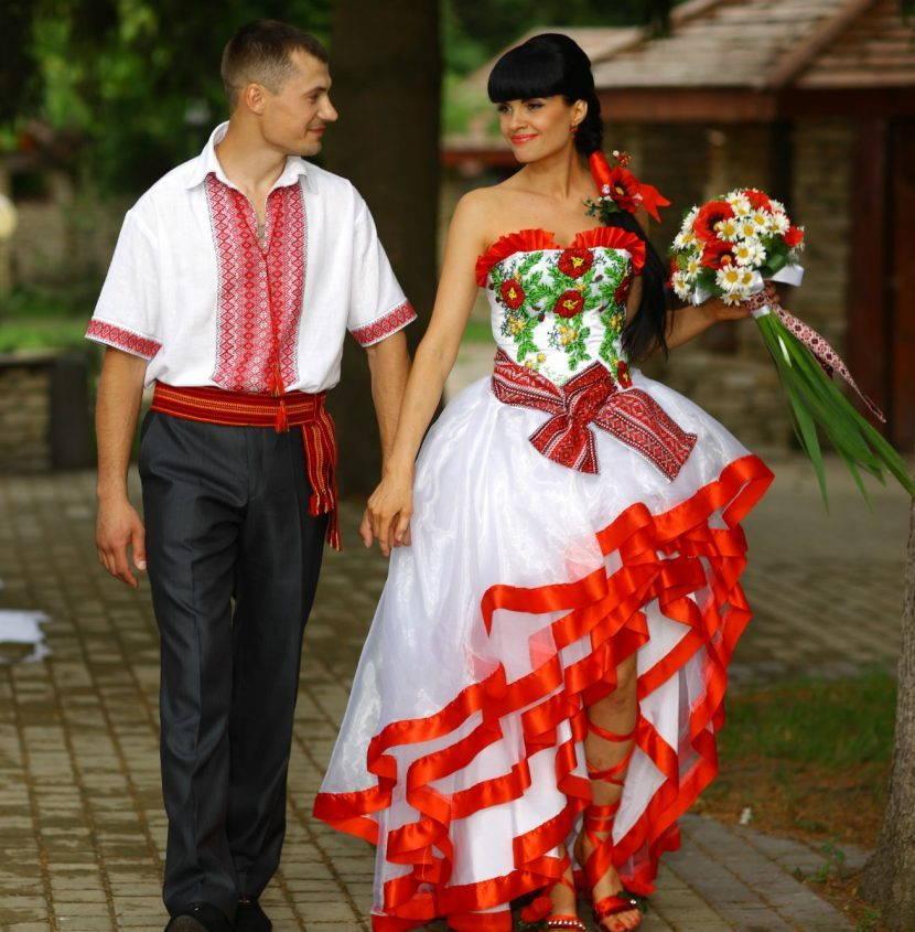 Современное свадебное платье в украинском стиле