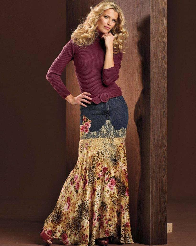 Джинсовая юбка в стиле бохо своими руками