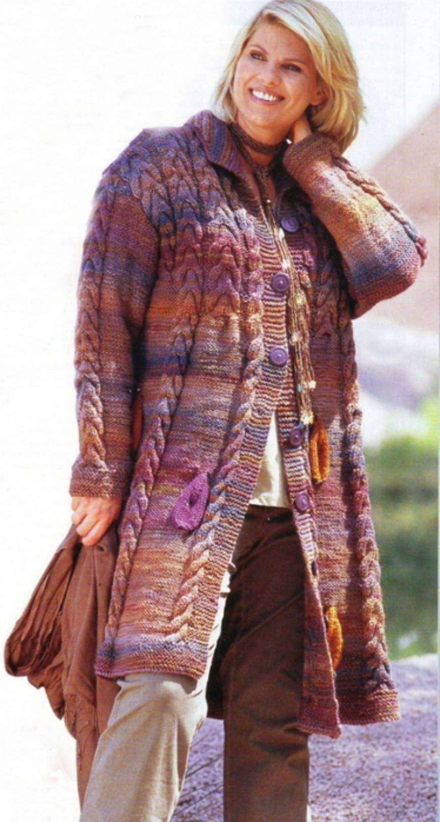 Вязаная одежда в стиле бохо для полных