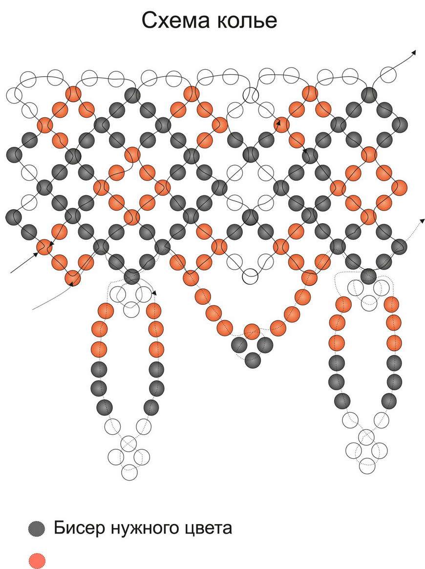 Ожерелье из бисера схемы плетения для мастеров